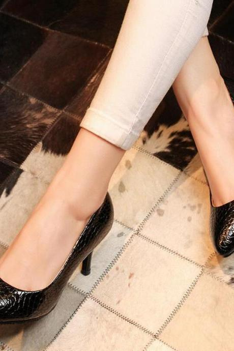 Pumps Heels Women Fashion Sexy Pattern Thin Heel Solid Pointed Toe Kitten Heels