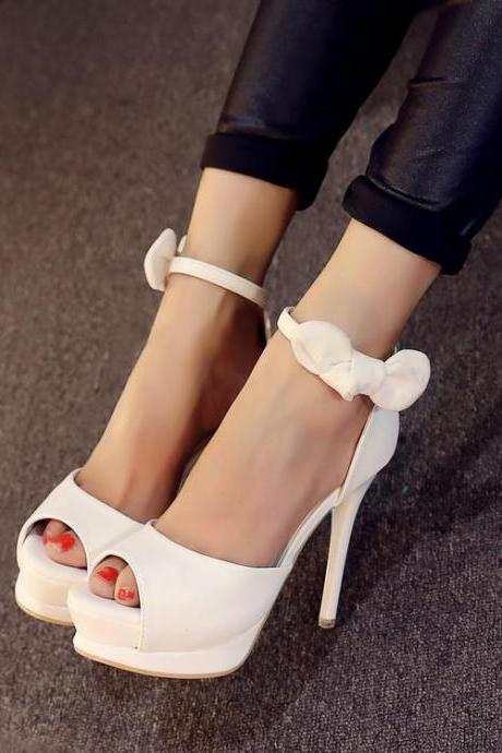 Suede Women Casual Pure Color Bow Platform Peep Toe High Heel Comfortable Sandals