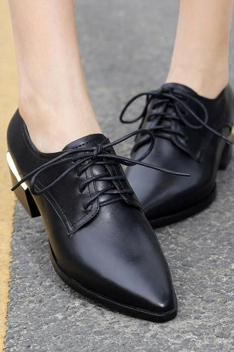 Womens British Style Lace Up Solid Pointy Toe Square Heel Richelieu
