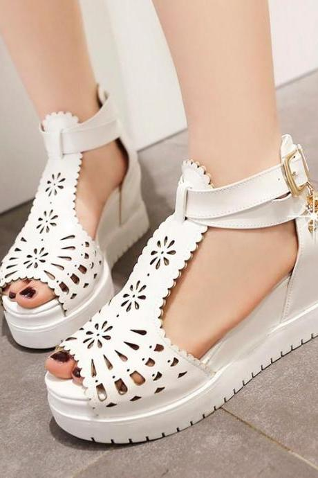 Womens Hollow Platform Open Toe Platform Heel Sandals