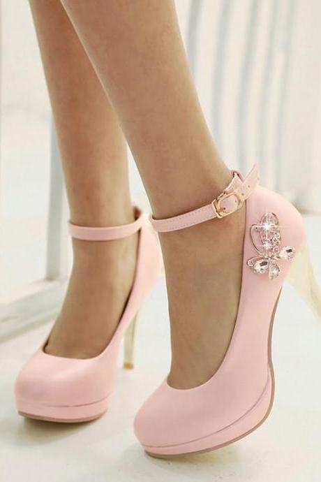Womens Rhinestone Hasp Round Toe Ankle Strap Stiletto Heel Pumps