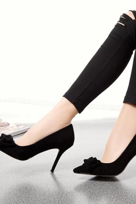 Womens Sexy Bow Tie Pointy Toe Stiletto Pumps