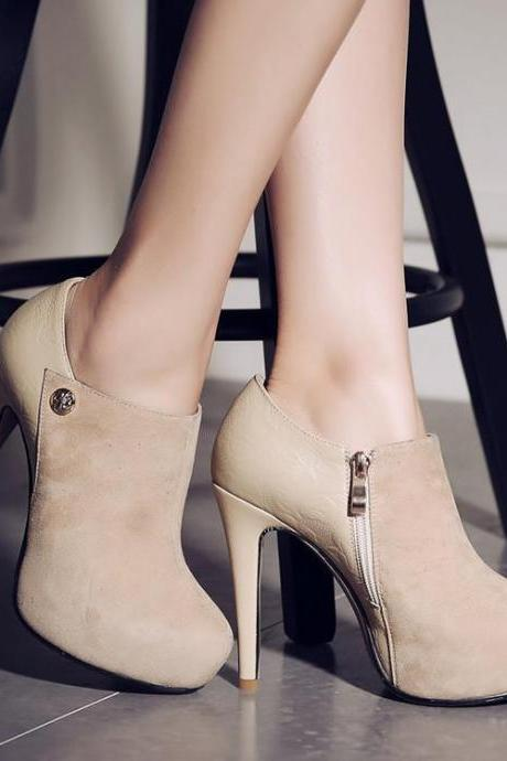 Womens Solid Sexy Platform Pointed Toe Ankle Boot