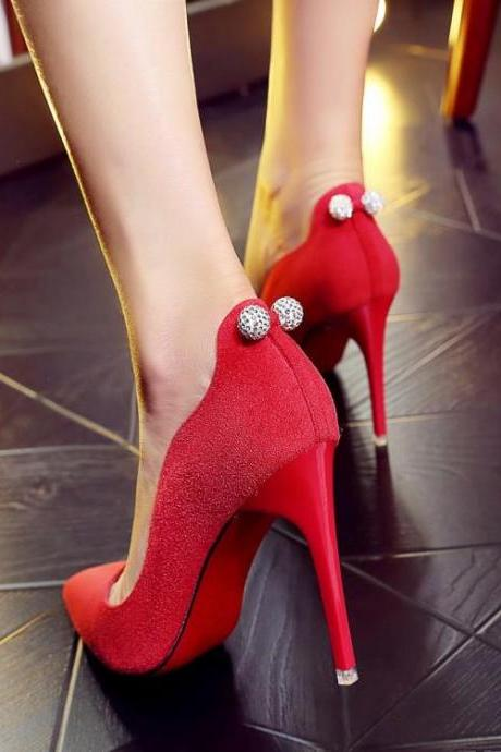 Womens Sexy Rhinestone Pointed Toe Stiletto Pumps
