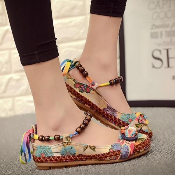 Round Toe Floral Print Boho Loafers with Beaded Lace-Up Ankle Straps