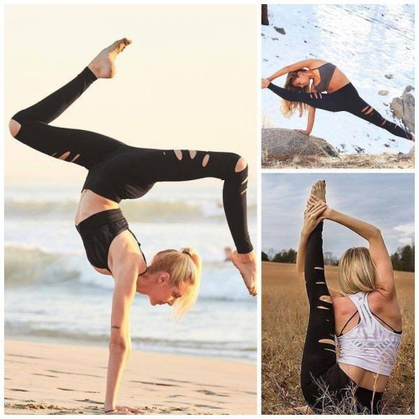 Womens Hot Sale Black Hollow Block Elastic Yoga Sport Running Brethable Pants