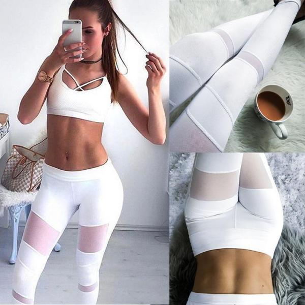 Womens Hot Sale White Mesh Patchwork Yoga Sport Running Brethable Pants