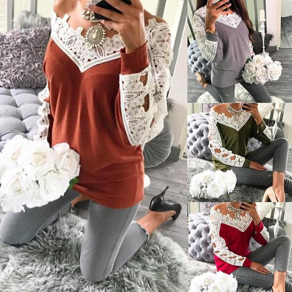 Women Lace Patchwork Solid Casual Sweatershirt