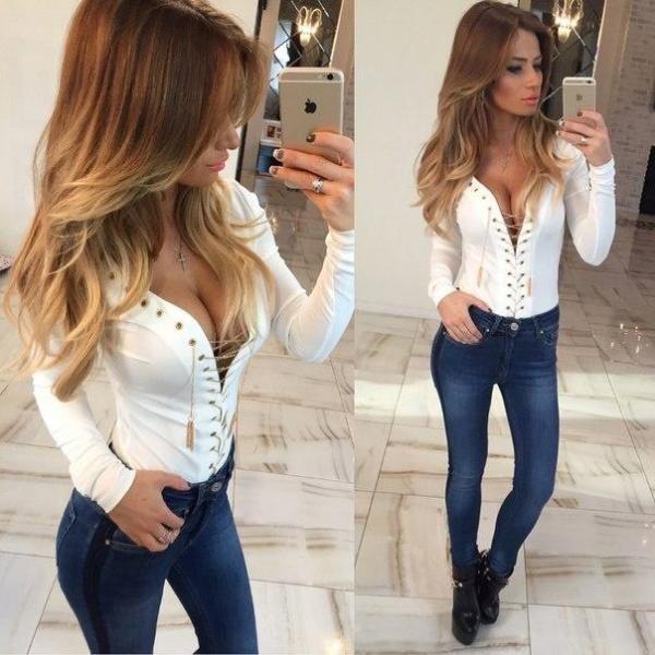 Women Long Sleeves Tops Deep V Sexy Chain Blouses