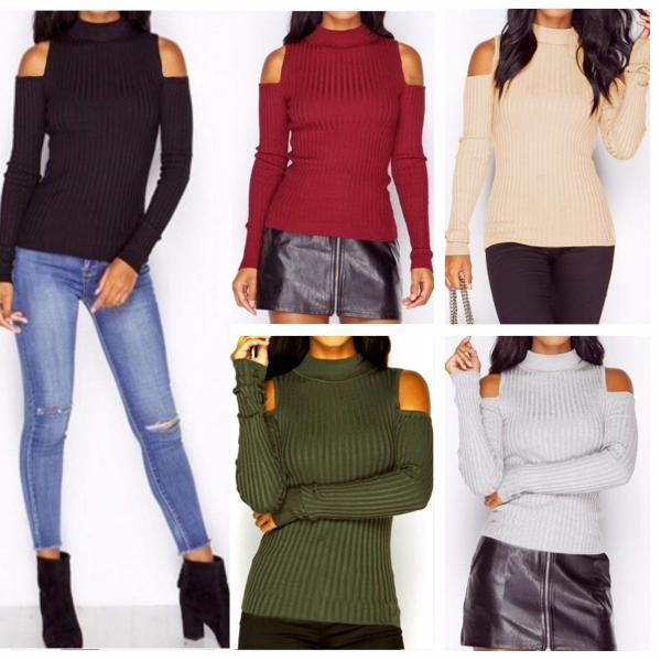 Knit Mock Neck Cold-Shoulder Long Sleeves Top