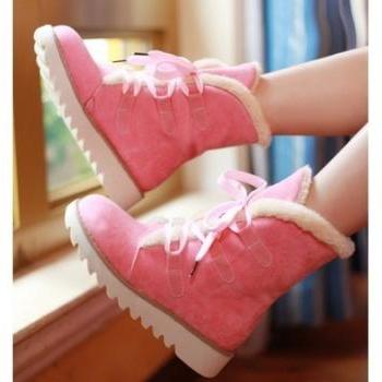 Stylish Fur Thick Lace-Up Dentoid Flat Soles Boots Pink