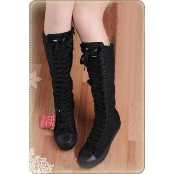 Women shoes PUNK Black Canvas boot lace up sneakers knee high