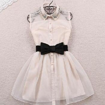 014 Summer Fashion Women'S Cute Sleeveless Turn-Down Collar Beading Dress