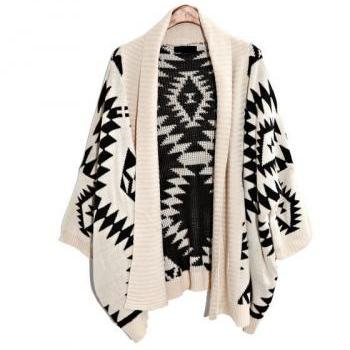 Oversized Aztec Geometry Print Knitted Cardigan - White