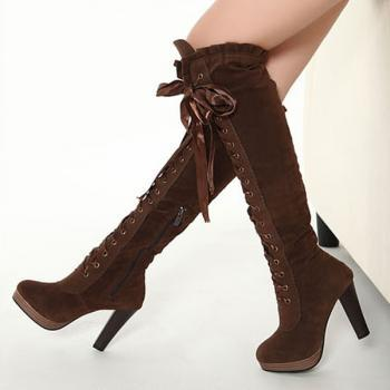 Ladies Boots Sexy Boots Cross Straps Knee High Boots Thigh High Boots