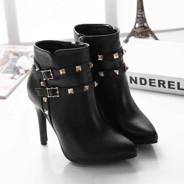 Women's Pure Color High Heel Thin Heel With Side Zippers Band Rivet Boots