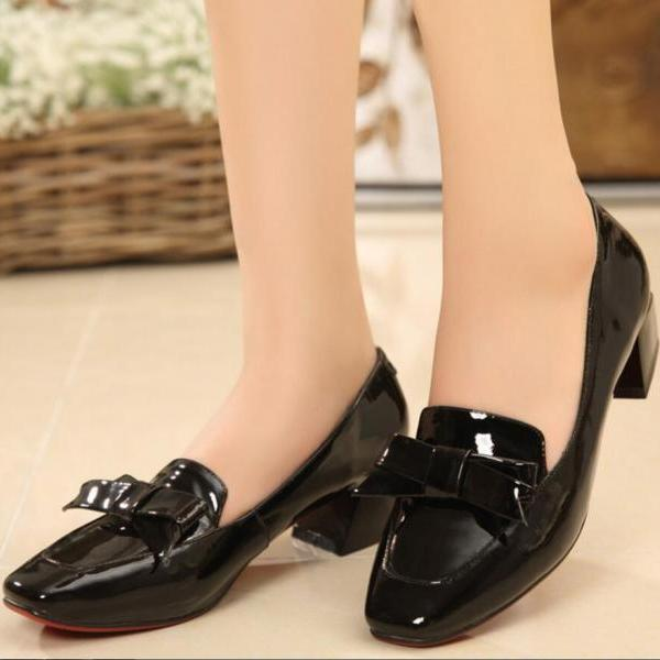 Women's Simple Pure Color Square Toe High Heel Shoes With Bowknot