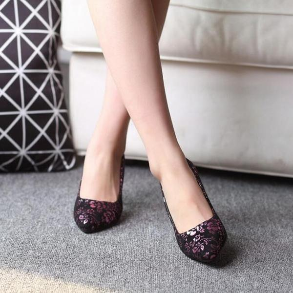 Pumps Heels Women New Sexy Print Thin Heel Pumps Pointed Toe Kitten Heels