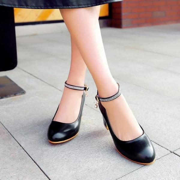 Pumps Heels Women Fashion Sweet Rhinestone Hasp Solid Round Toe Thick Heel