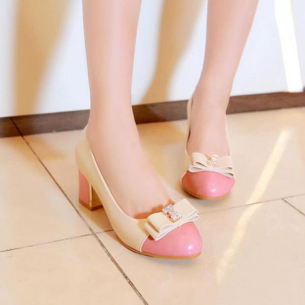 Pumps Heels Women College Style Bow Rhinestone Mixed Colors Round Toe Thick Heel